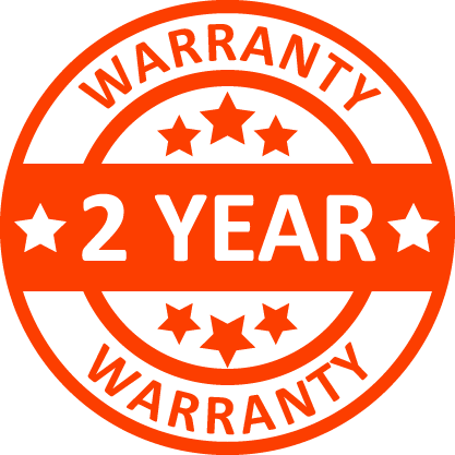 Circular warranty graphic. Text reads: 2 year warranty